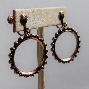 Retro VTG Bali Beads Accented Hoop Earrings